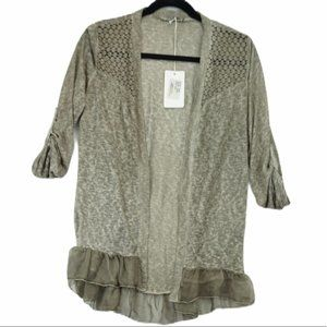 Italy Lace Taupe Lightweight Cardigan NWT